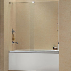 "BathAuthority LLC dba Dreamline - Mirage Frameless Sliding Tub Door, 56 - 60"" W x 58"" H, Brushed Nickel - The Mirage tub door delivers a unique design and the look of custom glass at an unbelievable value. Most sliding shower doors require substantial aluminum framing, but the Mirage uses innovative hardware to provide the space-saving benefits of a sliding door without compromising the beauty of a completely frameless glass design."