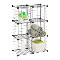 6-Pack Modular Mesh Storage Cube, Black - Honey-Can-Do SHF-02113 6-Pack Modular Mesh Storage Cube, Black.  Create unlimited configurations or combine multiple storage cubes to build a customized storage solution. Easy snap together assembly is achieved with multi-angle and heavy duty composite connectors.  Made from heavy gauge steel wire, this organization unit is perfect for bedrooms, bathrooms, laundry areas, dorms, and the garage.