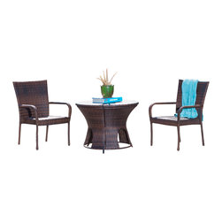 Great Deal Furniture - Alexandria Brown Wicker 3pc Outdoor Bistro Set - Dress up your patio or backyard with the Alexandria outdoor bistro set. The circular table brings style and convenience for your outdoor needs. Constructed out of brown wicker, the table has a double sided top that opens from both sides to reveal the storage unit, perfect for storing blankets, pool toys or garden tools. The brown chairs are made out of durable PE wicker and are weather and UV resistant. Place this set in your backyard patio, garden or pool deck.