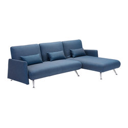Zuo Modern Contemporary, Inc. - Bizard Sleeper Sectional Cowboy Blue - With its thoroughly modern shape, the Bizard Sleeper Chair is functional and lovely.  It has sleek modern curves and lines all wrapped in a polyblend fabric.