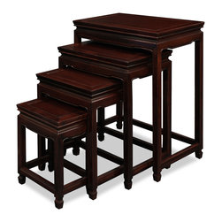 China Furniture and Arts - Rosewood Ming Design Nesting Tables - Exhibiting its pleasing simple lines in a distinct Ming (1368-1644) style, this exquisite set of four nested tables can be used individually or to the delight of your own artistic arrangement. All are completely handmade in solid rosewood by artisans in China using traditional joinery techniques. A hand applied mahogany rosewood finish enhances the beauty of the wood grains.