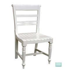 Tradewinds - Cottage Style Wooden Seat Side Chair, Aqua - Get this raffles wooden seat side chair featuring cottage house furniture design and enjoy comfortable seating all day long. It features a versatile design and makes an ideal chair for indoor use in kitchens, dining rooms or in cafes and restaurants. Different finish options are available in it to go well with the d�cor of your house.