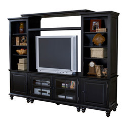 Hillsdale Furniture - Hillsdale Grand Bay Small Entertainment Wall Unit in Warm Brown - Transitionally designed to blend easily into both contemporary and traditional decor, the Grand Bay entertainment unit is available in two finishes, either black or pine for added versatility across many decor styles. It is constructed of solid wood with veneers and the back features knockouts for easy cable management. The Grand Bay console is the foundation for this-Piece and offers two glass front cabinets with adjustable shelves for storing your electronics, game systems, DVDs and CDs. The side piers, top shelf and bridge offer additional storage and display areas as well as two cabinet areas. each pier has adjustable shelves. If you need an entertainment solution for your home, look no further than the Grand Bay Entertainment unit.
