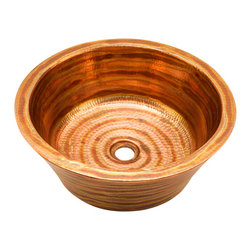 """Artesano Copper Sinks - Round Double Wall Vessel Bathroom Copper Sink - Round Double Wall Vessel Bathroom Copper Sink 16 x 6 for Over the Counter or Vessel installation, all hand made, all copper, all hammered, rim is 1"""", drain is 1.5"""", inside is 14 x 5"""""""