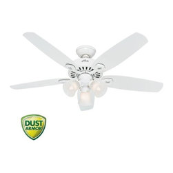 "Hunter - Hunter 53236 White Builder Plus Builder Plus 52"" 5 Blade Ceiling Fan - Features:Includes (5) Snow White BladesLight Kit Included3"" Downrod IncludedSuitable for Use in Dry Locations OnlyCovered by the Hunter Limited Lifetime WarrantyProduct Technologies:WhisperWind Motor - The WhisperWind motor, available on most Hunter Fan models, delivers ultra-powerful air movement with whisper-quiet performance. Trust WhisperWind to produce the cooling power you want without the noise you donÂ't.Dust Armor - Dust Armor is HunterÂ's patented nanotechnology which repels dust from hard to reach fan blades. Dust Armor coating has been applied to the blades of this ceiling fan, reducing dust build up by up to 58% compared to conventional fan blades.Blade Specifications:Primary Blade Finish: Snow WhiteNumber of Blades: 5Blade Span: 52""Blade Pitch: 13-Motor Specifications:Motor Size: 172mm x 12mmSpeeds: 3CFM (High): 5049RPM (High): 155Energy Efficiency (CFM/Watt): 77Amperage: 0.52 AmpsLight Specifications:Number of Bulbs: 3Bulb Type: IncandescentBulb Base: Candelabra (E12)Watts per Bulb: 60Wattage: 180Bulbs Included: YesSimilar Models:53236 (White Finish with Snow White Blades ) (This Model)53237 (Brushed Nickel Finish with Reversible Brazilian Cherry / Harvest Mahogany Blades )53238 (New Bronze Finish with Reversible Brazilian Cherry / Harvest Mahogany Blades )Accessories (Add to Cart to View All Options):Remote and Wall Controls AvailableSloped Ceiling Adapter for Angles up to 45-Hunter combines 19th century craftsmanship with 21st century design and technology to create ceiling fans of"