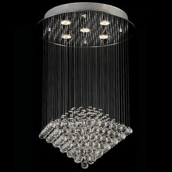 """Lamps Plus - Contemporary Clear Crystal Shower 5-Light Chandelier - Clear crystal cascades down from a chrome ceiling fixture creating an amazing chandelier design. Smaller crystal beads are complemented by larger crystal drops. Five halogen lights shine down on the display from above illuminating it and bringing it to life. A captivating choice for dramatic seating and dining areas. Chrome finish canopy. Clear crystal. 110V UL wiring. Includes five 50 watt GU10 halogen bulbs. 19"""" wide. 32"""" high. Canopy is 19"""" wide 2 1/2"""" high. Hang weight of 16.5 lbs.  Chrome finish canopy.   Clear crystal.   110V UL wiring.   Includes five 50 watt GU10 halogen bulbs.   19"""" wide.  32"""" high.   Canopy is 19"""" wide 2 1/2"""" high.   Hang weight of 16.5 lbs."""