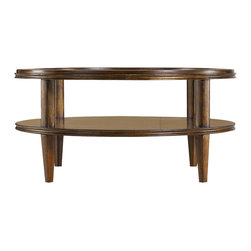 Stanley Furniture - Archipelago Calypso Round Cocktail Table - Calypso Round Cocktail Table celebrates the beautiful infinity of the circle. Semi-circles in walnut burl ring the table to dramatic effect. A tempered glass top suspends over a fixed shelf below, also patterned. So striking you almost forget how useful it is. One stationary shelf, tempered glass insert top. Made to order in America.