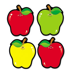 Carson-Dellosa - Carson-Dellosa Apple Cut-Outs - 36 Apple - 4.5 x 5.5 - Assorted - Use Apple Cutouts to decorate your bulletin board or classroom. Die-cut shapes are fun additions to any classroom setting. They are perfect for bulletin boards, walls, windows, in matching and sorting games, as nameplates or desk tags, and more. each shape measures 4-1/2 x 5-1/2 and is printed on cardstock for durability.