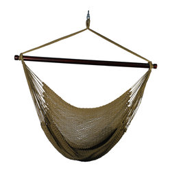 "Algoma Hanging Caribbean Rope Chair - Enjoy the perfect place to sit and read, or just relax.  This oversized hammock chair allows you to stretch out or curl up.  The wide 44"" spreader bar holds the chair open to the perfect distance, for easy entrance and exit.  The tightly woven soft polyester rope resists the effects of sun and rain, yet is soft and comfortable."