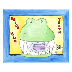 Oh How Cute Kids by Serena Bowman - Teeth Rex, Ready To Hang Canvas Kid's Wall Decor, 24 X 30 - Because even Dinosaurs need gentle reminders.  I love of the tiny hands of T-rex.  This is part of the my Bathroom Dinos Series. I created this in hopes it would serve has reminders to my kids.  Make the bathroom a fun place and maybe just maybe the kiddies will actually go wash there hands and brush their teeth??  Here's to hoping!