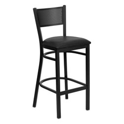 """FlashFurniture - Hercules Series Grid Back Metal Restaurant Bar Stool - Features: -Heavy duty restaurant bar stool. -Black powder coated frame finish. -Black vinyl upholstered seat. -75"""" Thick plywood seat. -18 Gauge steel frame. -Foot rest rung. -Grid back design. -Two curved support bars. -CA117 Fire Retardant Foam. -Designed for Commercial Use; Suitable for Home Use. Dimensions: -Seat size: 16.75"""" W x 16.5"""" D. -Back size: 12.25"""" H x 16"""" W. -Overall: 42.25"""" H x 19"""" W x 19.5"""" D, 18 lbs."""