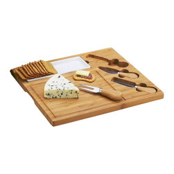 Picnic at Ascot - Celtic Cheese Board Set - The elegant Celtic cheese board set includes a removable ceramic dish for crackers, olives, etc. and three cheese service utensils. Utensils are stainless steel with bamboo handles; (1) Cheese Knive (1), Cheese spreaders (1), Cheese fork - all inset in cheese board. Lifetime Warranty.