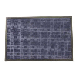 Rubber-Cal - Rubber-Cal 'Wellington' Blue Entrance Carpet Mat (18 x 30 inches) - This absorbent mat is made of a polypropylene surface that soaks up water and a rubber backing and beveled edges help the rubber-backed floor mats to contain the liquid. Made from natural and reclaimed and recycled materials.