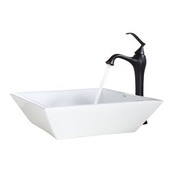 Kraus - Kraus White Square Ceramic Sink and Ventus Faucet Oil Rubbed Bronze - *Add a touch of elegance to your bathroom with a ceramic sink combo from Kraus