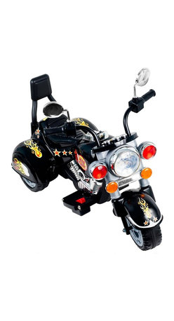 Trademark Global - Rockin Rollers Boss Chopper Battery Powered T - Battery and charger included. Easy to put together . Sharp colorful decorations. Chrome colored highlights. Has buttons for sound effects and a headlight that lights up. Also goes in reverse. Ages: 2 to 4 years. No assembly required. Motor:18 Watt. Battery: 6v 4ah. Speed: 3 mph. Dimensions: 34 in. L x 22 in. W x 25.5 in. H (25 lbs.)With its ultimate Motorcycle like style, chrome color highlights and boss chopper styling, kids can experience the excitement of motorcycle riding in their own driveway with this boss chopper battery powered trike by rockin rollers.