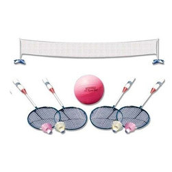 """Poolmaster - Volleyball Badminton Combo - Poolmaster's across pool volleyball/badminton game combo will fit most pools with perimeter decking and includes a deluxe ball inflating needle and 4 steal badminton rackets with 4 birdies. Size: 22"""" wide x 44"""" high with pole"""