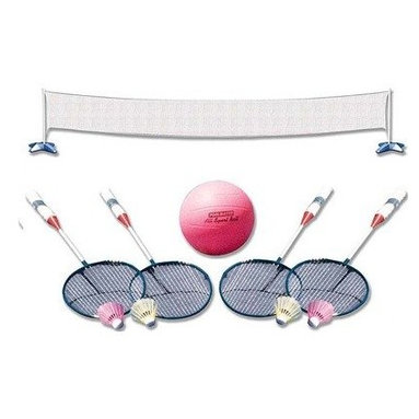 "Poolmaster - Volleyball Badminton Combo - Poolmaster's across pool volleyball/badminton game combo will fit most pools with perimeter decking and includes a deluxe ball inflating needle and 4 steal badminton rackets with 4 birdies. Size: 22"" wide x 44"" high with pole"