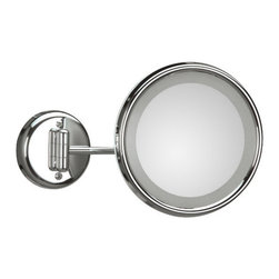 WS Bath Collections - Lucciolo 20-1 Magnifying Mirror 3x with Incandescent Lamp - Lucciolo 20-1 x3 by 9.5 Dia. x 12.2 Extension Magnifying Mirror, with Incandescent Lamp, Hard Wiring Direct Power Supply, in Chromed Plated Brass and Anodized Varnished