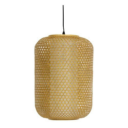 """Oriental Furniture - 20"""" Taka Japanese Bamboo Hanging Lantern - At more than a foot in diameter, and more than a foot and a half tall, this is a comparatively large and substantial hanging lantern, and quite beautiful. A fiber reinforced rice paper cylinder shade, with split bamboo in a caning pattern woven around it, this lamp does not require an electrician. Just put in either a U. S. standard incandescent or compact fluorescent light bulb and plug in the power cord. Uses a 40 Watt medium bulb. This a wonderfully unique ceiling light, great over a reading chair or dining room table, use a pair for a particularly elegant effect. The long power cord attached to the bulb socket means you can hang it low or high, and it's ready out of the box, just buy a bulb. However, if you would prefer to install this as a ceiling light fixture, you will need to hire a certified, professional electrician."""