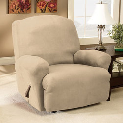 Sure Fit - Sure Fit Stretch Suede Recliner Slipcover - 37598 - Shop for Chair and Slip Covers from Hayneedle.com! The Stretch cover is a one-piece cover made from a soft poly/cotton blend and spandex material. Its stretching qualities offer a clean tailored look for both box and T-cushion style furniture. It features an adjustable arm width and inner pleats to minimize tucking. About Sure FitSurefit Inc. is widely known for its attractive quality furniture covers slipcovers and decorative accessories. The success of their ready-made furniture slipcovers and accessories is based on extensive experience providing cost-effective decorative solutions made to fit in a broad range of styles to meet the needs of all customers. Sure Fit's furniture slipcover product line includes slipcovers for sofas loveseats chairs oversized chairs wing chairs dining room chairs recliners ottomans and folding chairs as well as furniture and pet throws. Sure Fit also sells coordinating decorative pillows. Sure Fit is dedicated to quality product with rigorous durability and performance standards that are second to none. Many patterns feature dual-action Scotchgard Protector to repel and release stains. Home of the Ten Minute Makeover Sure Fit provides an attractive and affordable solution for consumers who need to protect furniture from children pets and general wear or want to quickly and cost-effectively upgrade their furniture and enhance the appearance of any room. Please note this product does not ship to Pennsylvania.