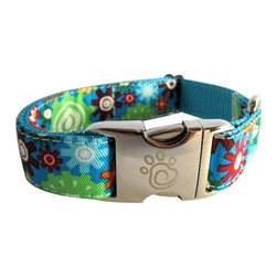 "chief furry officer - Designer Fabric Dog Collar - Westwood, Large - cfo proudly presents ""westwood"". The background is turquoise with shades of green, blue, orange, green, red, burgundy and yellow print. Looks great on all breeds. This pattern let's your cfo get noticed. The webbing coordinates perfectly in matching Turquoise."