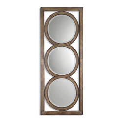 Uttermost - Isandro Metal Silver Mirror - Like a stoplight, this mirror will make you take notice. Crafted from hand forged metal, the attractive piece features three beveled mirrors and an open design for a dramatic effect. No matter how it's hung, it'll stop you in your tracks.