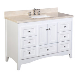 Kitchen Bath Collection - Abbey 48-in Bath Vanity (Crema Marfil/White) - This bathroom vanity set by Kitchen Bath Collection includes a white Shaker-style cabinet with soft close drawers and self-closing door hinges, Spanish Crema Marfil marble countertop, single undermount ceramic sink, pop-up drain, and P-trap. Order now and we will include the pictured three-hole faucet and a matching backsplash as a free gift! All vanities come fully assembled by the manufacturer, with countertop & sink pre-installed.