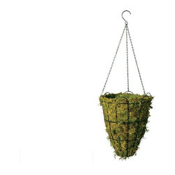 Beehive Hanging Basket with Moss Mat - The world is buzzing about the shapes and sweeping open designs of the Beehive Hanging Basket with Mossmat Liner. This uniquely shaped planter is suspended from a heavy-duty chain and includes a strong chain hanger. Notice how the swirling metal curves up and around, creating more open space to see the vibrant green mossmat liner (included). Hanging baskets are great for small space gardening - try dangling them at different heights for a high-impact hanging garden on your balcony or deck. Also available with coconut inserts or with tripod stand for use as a freestanding planter.