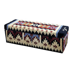 Solid  Hard Wood Upholstered Trunk - Solid Hard Wood Upholstered Trunk is a fabric and design exclusive to Tres Amigos Furniture and Accessories. This trunk compliments most furniture styles and makes a great impromptu seat in any room you place it in. Pack away extra blankets, board games or keep-sake's in this beautifully upholstered trunk.