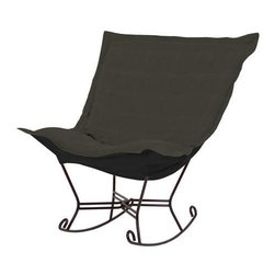 Howard Elliott Sterling Charcoal Scroll Puff Rocker - Mahogany Frame - The Sterling Puff Chair is a simple yet sophisticated piece. The fabric features a hopsack look with a crisp hand rich color.