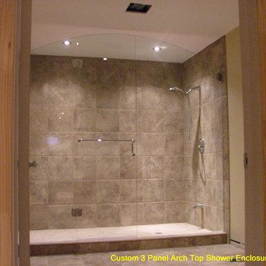 Custom Shower enclosure - arch top design with centered door