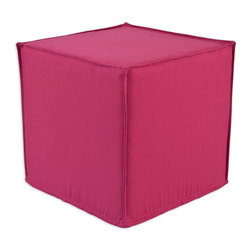 """Chooty - Chooty Dyed Solid Candy Pink Collection 17"""" Square Seamed Foam Ottoman - Insert 100 High Density Foam, Fabric Content 100 Cotton, Color Pink, Hassock 1"""