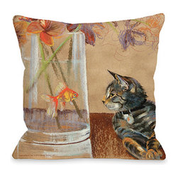 "Graviss Studios - Throw Pillow- Seeing Eye to Eye - This unlikely couple have a conversation all their own on an 18"" square pillow is printed from an original pastel painting created by artist Debbie Graviss. Includes a hidden zipper."