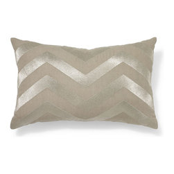 Metallic Embroidered Chevron Pillow Cover - This metallic chevron pillow adds a touch of glam while still being neutral for a rustic Christmas. It will take you beyond the holiday season as well.