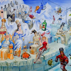 L. Lee Junge - On the Rocks, 32 X 21.75 - In this piece, painter Laura Lee Junge creates an icy wonderland of classic winter spirits happily scaling the wall of a ski resort. Here we see Absolut Vodka cozying up to a fire alongside Ketel One while a Budweiser in a Blackhawks jersey skates downhill affront Heineken dressed in a Canadian jersey. With waves of crisp blue hues, one can't help but feel the excitement of winter and the warmth of the holidays. This work is part of Junge's Night Life series in which Junge explores the lively scenario of bar spirits coming to life in a series of fifteen striking and titillating paintings. These works unlock the door to a world of spectacle, imagination, and complex perception. Limited Edition Giclee on Canvas. Edition of 500.