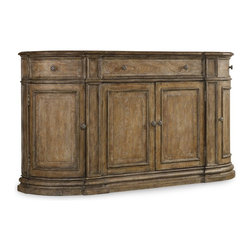 Hooker Furniture - Solana Three-Drawer Four-Door Buffet - White glove, in-home delivery included!  Luminous and fresh, Solana is a refined rustic, opulent yet casual collection that celebrates the look of natural wood bathed in sunshine.  Drop-front top center drawer, outside drawers swing out, reversible wine storage shelf behind center pair of doors, holds ten wine bottles, one adjustable wood shelf behind outside doors.