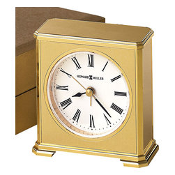"Howard Miller - Palladium Plated Brass Office Alarm Clock - Who want out of the box when in the box works so well. Brass plated desktop sensation will have co workers crusing by for the hour on the hour. Roman numerals tick the time away, while detailed brass finish exudes a sense of classic traditional contemporary revelry. * Brushed brass tone crescendo alarm clock with polished brass finished base and trim. . White dial features black hands, Roman numerals and brass second hand. . Hinged, gold tone presentation box with padded interior and brass clasp. . Quartz, alarm movement includes battery. . H. 3-1/2"" (9 cm). W. 3"" (7 cm). D. 1-3/4"" (4 cm)"