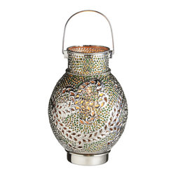 """Everybody's Ayurveda - Silver Swirl Candle Drum Lantern with Embed Green Glass Beads - Silver Swirl Drum Candle Lantern with Green Glass. Iron and Glass. Made in India. 8"""" Wide x 8"""" Deep x 11"""" Tall. Shiny silver finish with Green glass beads."""