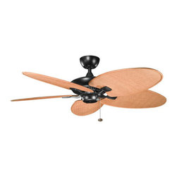 Kichler - Canfield Climates Satin Black 52-Inch Ceiling Fan w/ Toffee Woven Wicker All Wea - - All-Weather ABS motor assembly.   - Stainless steel mounting hardware.   - Aluminum support system.   - Motor size: 188mm x 25mm.   - Mounting Slope - Pitch: 30 degree or 7/12.   - Includes 4 aluminum downrod with 1 O.D.   - Primary Control System: Pull chain, 3 speeds forward and reverse.   - Optional remote controls sold seperately.   - No light kit included.   - Lead Wire: 78.   - Wet rated.   - CUL listed.   - Limited lifetime warranty.   - All-Weather fan blades made from durable ABS Plastic. Kichler - BKIT-320500SBK-370023