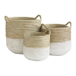 White-Dipped Barrel Baskets