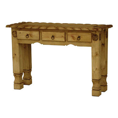 Rustic Pine Console Table - The unique hand carved rope edges give this table a distinctive southwestern appearance. It has three drawers that are perfect for storing small items. This console table is great to put behind a sofa or in an entry way. It is an affordable, hand made console table makes a great impression.309