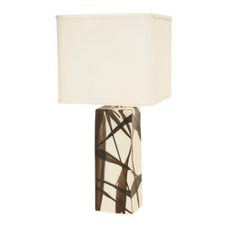 Narrow Square Lamp - This handmade lamp is so sensual, it's delectable. The abstract pattern of chocolate-colored paint splatters against the creamy background is pleasing to your eye, and the square linen shade is the perfect complement. The slender frame of the base of this lovely lamp makes it a perfect fit for any table in your home.