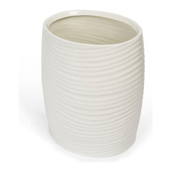Kassatex - Kassatex Mojave Collection Wastebin - Collecting your cast-offs with considerable style, this porcelain waste bin accommodates itself well to the smaller spaces in your bathroom.