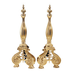 """Inviting Home - Scrolled Base Andirons - solid cast brass andirons 10""""W x 10""""D x 27-1/2""""H hand-crafted in Italy Andirons sold and priced as pair Hand-crafted solid brass fireplace andirons with elaborate scrolls and leaf motif. Andirons have an antiqued finish. These andirons are hand-crafted in Italy. Andirons sold and priced as pair."""