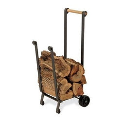 Pilgrim Home & Hearth - Pilgrim Forged Iron Wood Cart - Pilgrim Forged Iron wood cart with non-marring wheels; Vintage Iron frame with wood handle; Ideal for transporting wood from the yard to the deck; Heavy duty design; Pilgrim Lifetime Warranty.  This item cannot be shipped to APO/FPO addresses. Please accept our apologies.