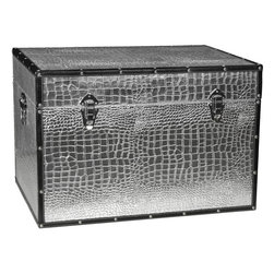 Faux Leather Crocodile Storage Trunk - Bold metallic design on high quality textured vinyl