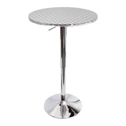 """LumiSource - Bistro Bar Table - Features: -Bar. -Polished chrome base. -Body finish: Stainless steel. -Top finish: Silver swirl. -Stainless steel top features decorative hypnotic sparkle pattern. -Hydraulic lever adjusts table from 26"""" to 41"""" inches in height. -Perfect for smaller kitchens or dining areas. Dimensions: -41"""" H x 22"""" W."""
