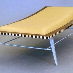 Gracilius lounge - cosmo barbaro; rosewood, wenge, maple, nu buck leather, aluminum. bent laminated top