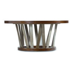 "Silver Nest - Round Spoke Cocktail Table- 42x42 19""h - Wood and Metal Round Spoke Cocktail Table, Stands 19"" high and can be used in many different styles of homes.  This is an eye-catching table that is certain to be conversation piece in any setting."