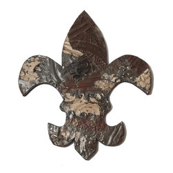 Ozark Folk Art - Antique Tin Fleur-de-lis Symbol   (17in x 19in) - This line of antique decorative symbols are handmade in the United States from reclaimed ceiling tin from the early 1900's.  Constructed from various pieces of tin hammered to evoke a patch work effect, each symbol has a unique color pattern and texture.  These historic symbols have a beautiful weathered and aged look.  Shades, level of distress and tin patterns vary based on the age and location of their original structure.  The tin is secured to a painted black, solid wood backing with hanging hardware attached.  They are easy to hang on the wall or lean on a shelf, a bit of history perfect or any decor.